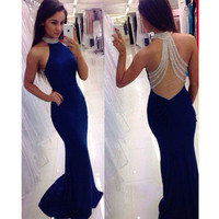 Sexy Royal Blue High Collar Beaded Bling Bling Sheer Back Sleeveless Mermaid Prom Dresses 2017 Evening dress