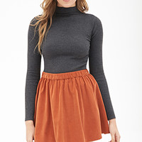 LOVE 21 Flared Corduroy Mini Skirt Rust