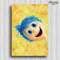 inside out joy disney poster nursery watercolor art