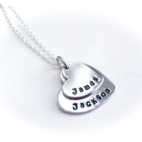 Hand stamped mothers two stacked heart necklace pendant personalised with children's names