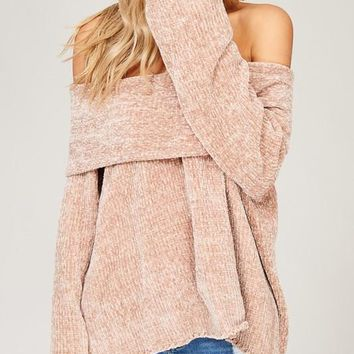 Off Shoulder Velvet Yarn Sweater - Taupe