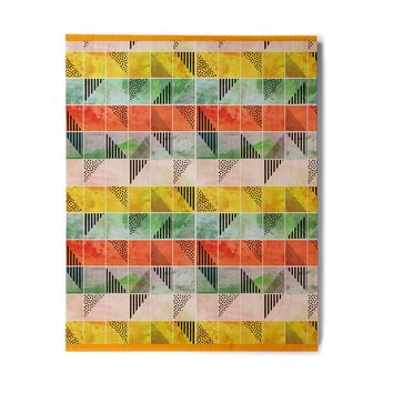 "bruxamagica ""Tartan Coral Gold Green"" Gold Coral Abstract Pattern Digital Vector Birchwood Wall Art"