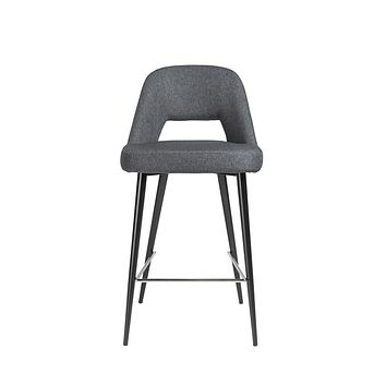 Blair-C Counter Stool in dark gray fabric with matte black powder coated steel legs