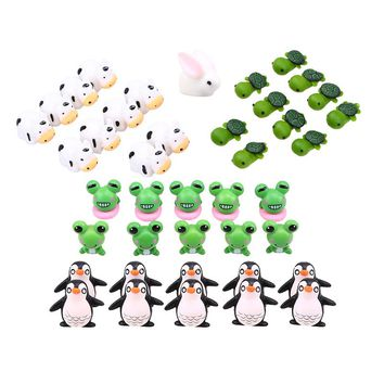 10PCS Fairy Garden Miniatures Terrarium Cute Cartoon Animal Penguin Fence Micro Landscape Crafts Figurine Ornament Bonsai Decor