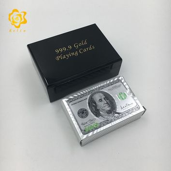 Waterproof PET material Silver Foil playing cards poker with 100 USD Banknote image with black wooden box for gambling games