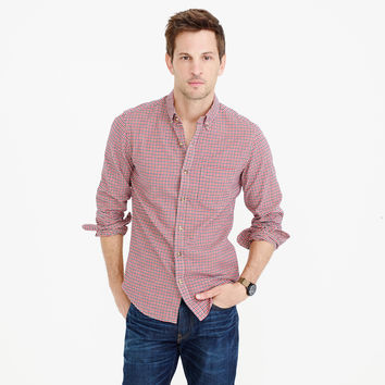 Slim oxford shirt in navy and red check : Men shirts | J.Crew