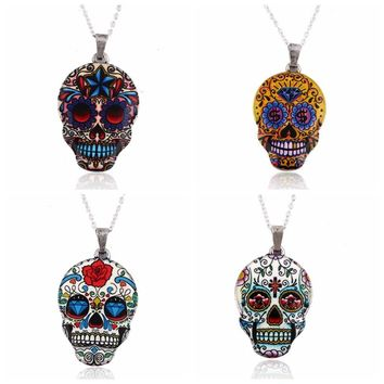 Colorful Skull Skeleton Pendant Necklace Women