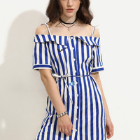 Contrast Vertical Striped Self Tie Single-Breasted Embroidered Dress