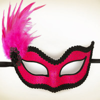 Fuschia / Hot Pink And Black Masquerade Mask  -  Venetian Style Pink Feather Mask Decorated With Rhinestones - For Prom Or Costume Party