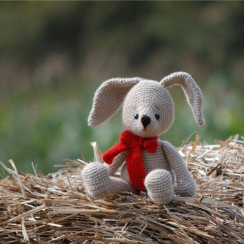 crochet bunny, amigurumi soft doll, woodland rabbit, stuffed bunny with red bow, great gift for children, cute cuddly doll