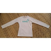 Local Motion Womens Long Sleeve White Hawaii Rashguard - Slight Stain on collar