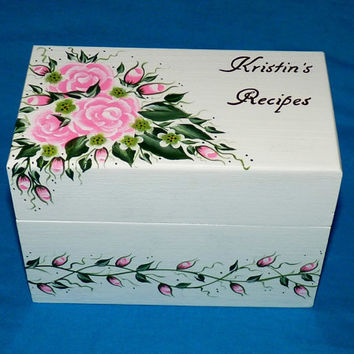 Personalized Recipe Box Custom Wood Recipe Card Holder Organizer Hand Painted 4x6 Shabby Chic Pink Roses Wedding Bridal Shower Gift