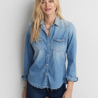 AEO Slim Denim Shirt , Light Blue