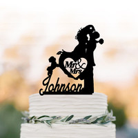 Mr And Mrs Wedding Cake topper with dog, bride and groom with personalized initial cake topper. unique wedding cake topper silhouette