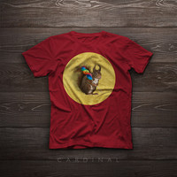 T-Shirt - A squirrel with a lollipop on yellow background - Illustration, tshirt, funny, gift, pet, portrait, smile