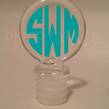 Monogrammed Round Glass Wine Stopper