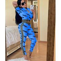 FENDI Hot Sale Women Casual Print Zipper Top Stretch Pants Trousers Set Two-Piece Sportswear Blue