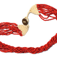 Multi-Strand Red Glass Bead Necklace