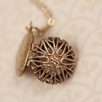 LONG Small Round Filigree Locket Necklace, 14kt Gold Filled Chain, Tiny Pendant, Unique Transparent Jewelry, Double Sided, Miniature, Short