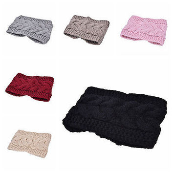 Crochet Headband Knit Flower Hairband Ear Warmer Winter Headwrap Fashion HU