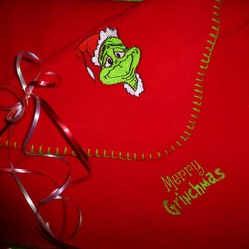 Throw BLANKET Grinch Embroidered Personalization AVAIL! So Soft Fleece Blanket SNuggLy FuN GrinchMaS GifT Designs by Sugarbear