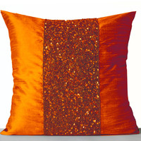 Throw Pillows -Orange Silk Pillows -Orange Sparkle Pillow -Orange Bead Sequin Embroidered Pillow -18x18 -Gift -Registry -Anniversary -Autumn