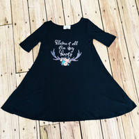 "Country Boho Dress ""Blame It All On My Roots"" in Black by Judith March"