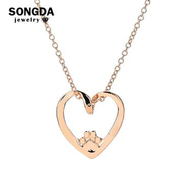 SONGDA Love Heart Hollow Pet Paw Print Chain Necklace Animal Custom Pendants Necklaces Dog Cat Lovers Best Friend Jewelry Gift