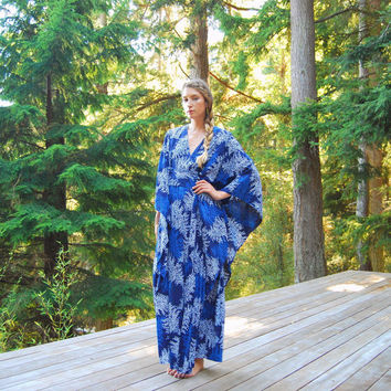 70s Caftan Dress, Blue Batik Hippie Maxi Dress, Hawaiian Leaf Print Lounge Dress, Boho Vintage Kimono Dress, Psychedelic Angel Sleeve Dress