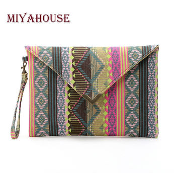 Handmade Canvas Bag Geometric Pattern Ladies Clutches Bag Female Envelope Clutches Purses Fashion Ladies Evening Party Bag