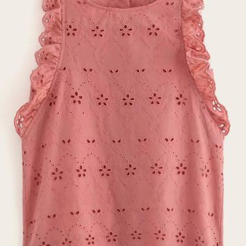 Eyelet Embroidery Button Back Ruffle Trim Tank Top