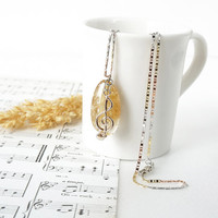 Music Jewelry, Yellow Citrine Gemstone with G Clef Note Charm, Gift for Musician Girl, November Birthstone