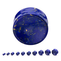 """Lapis Concave Stone Plugs - 2g up to 1"""""""