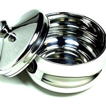 Classic Barber Shop Stainless Shave Soap Bowl & Lid