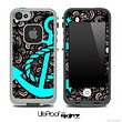 Black Floral Laced Sprout Print and Turquoise Anchor Skin for the iPhone 5 or 4/4s LifeProof Case