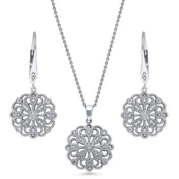 Sterling Silver CZ Filigree Flower Necklace and Earrings SetBe the first to write a reviewSKU# vs538-01