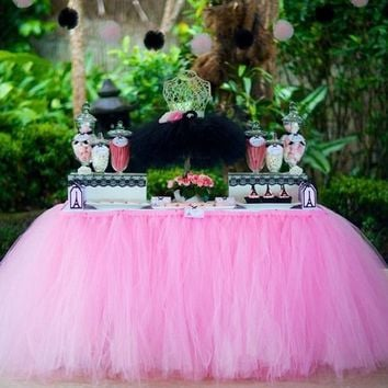 1Pcs 15 Colors Tulle Table Skirt DIY Tutu Tableware Skirts For Wedding Birthday Decoration Baby Shower Favors Party Home Textile