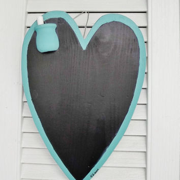 Hand Painted Wooden Heart Chalk Board Rustic Primitive Folk