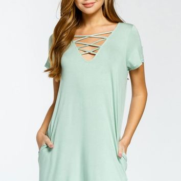 Sage Criss Cross Neck Dress