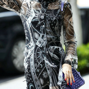 Black Long Sleeve Two Pieces Printed Dress