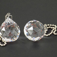 Crystal Light Pull, Fan Pull or Suncatcher, 2 pc. Ceiling Fan, 30mm Crystal Ball, Fan Decoration