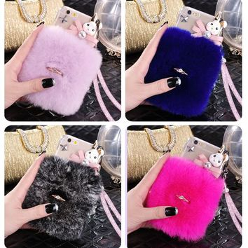 3D Cute Soft Fluffy Rabbit Warm Fur Case For iphone X 10 6 6S 6 7 8 Plus 5 5S SE Cover Fashion Elegant Bling Diamond Phone Case