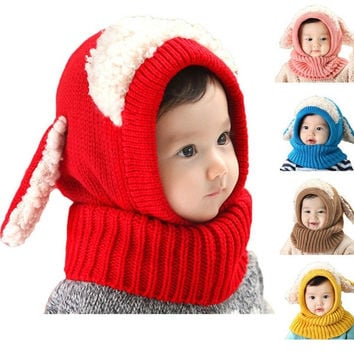 Winter Baby Toddler Girl Boy Warm Cute Dog Knitted Crochet Cloak hooded Hat Cap Beanie Scarf Set = 1958104260