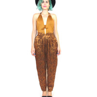 80s Gold Harem Pants Floral High Waist Slouchy Loose Trousers Tapered Fancy Evening Pants Pockets (XS/S)