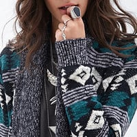 FOREVER 21 Tribal Print Ribbed Cardigan Grey/Teal