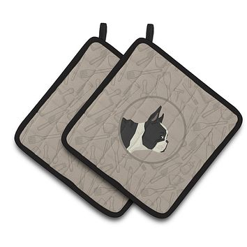 French Bulldog In the Kitchen Pair of Pot Holders CK2186PTHD