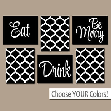 EAT DRINK be Merry CANVAS or Prints Black Kitchen Wall Art, Quatrefoil Artwork, Choose Your Colors, House Warming Gift Set of 6 Home Decor
