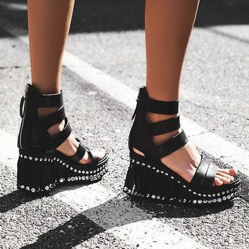 Black Leather Fringe Platform Open Toe Sandals Cutout Wedge Heel Zipper Back Sandals