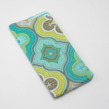 Sunglasses Case, Eyeglass Case, Glasses Case in Modern Lime and Aqua Print Fabric