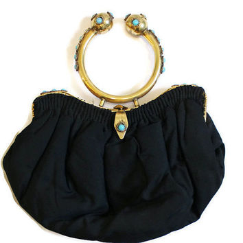 Black Evening Bag With Ornate Brass Handle Decorated With Faux Turquoise Cabochons, Ornate Evening Bag, Black Handbag, Ornate Handbag